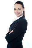 Nahaufnahme geschossen von der erfolgreichen Geschäftsfrau stockbilder