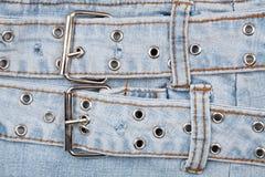 Nahaufnahme geschossen von der Jeansfrontseite stockbild