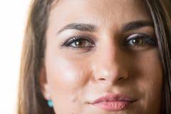 Nahaufnahme Headshot des schönen jungen lächelnden Mädchenjugendgesichtes Lizenzfreies Stockbild