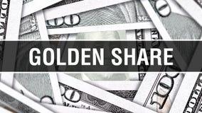 Nahaufnahme-Konzept der goldenen Aktien Amerikanische Dollar des Bargeld-, Wiedergabe 3D Goldene Aktien an der Dollar-Banknote Fi stock abbildung