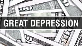 Nahaufnahme-Konzept der Großen Depression Amerikanische Dollar des Bargeld-, Wiedergabe 3D Große Depression an der Dollar-Banknot vektor abbildung