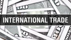 Nahaufnahme-Konzept des internationalen Handels Amerikanische Dollar des Bargeld-, Wiedergabe 3D Internationaler Handel an der Do stock abbildung