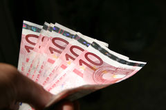 Nahaufnahme mit 10 Eurorechnungen Lizenzfreies Stockbild
