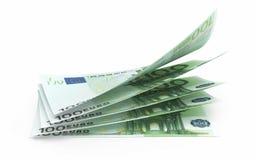 Nahaufnahme mit 100 Eurobanknoten Stockbild