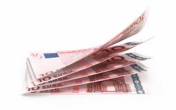 Nahaufnahme mit 10 Eurobanknoten Stockfotografie