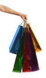 Nahaufnahme oder Bild von multi farbigen Einkaufstaschen Lizenzfreies Stockfoto