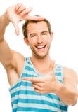 Nahaufnahme photographie-Weiß backgro des attraktiven glücklichen Mannes Gestaltungs Lizenzfreie Stockfotos