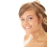 Nahaufnahme, Portrait einer schönen Frau lizenzfreie stockbilder