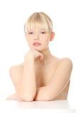 Nahaufnahme, Portrait einer schönen Frau lizenzfreie stockfotos