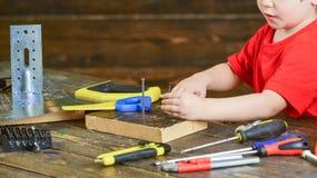 Nahaufnahme scherzt die Hände, die Schraube am hölzernen Brett halten Macht Lektion am Kindergarten in Handarbeit Satz Werkzeuge  lizenzfreies stockbild