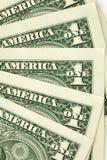 Nahaufnahme schoss von den ein Dollarscheinen Stockfotografie