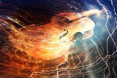 Nahaufnahme schoss von einem Akustikgitarre fretboard und einem soundhole Lizenzfreies Stockfoto