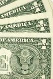 Nahaufnahme schoss von wenigen Dollarscheinen Stockbilder