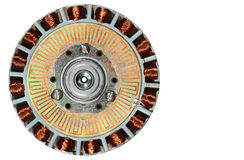 Nahaufnahme schwanzlosen DC-Motors mit entfernter oberer Abdeckung Stockfotografie