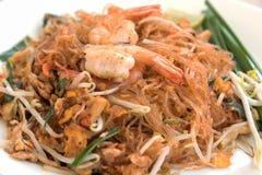 Nahaufnahme thailändische Nudel oder padthai, traditionelles Lebensmittel Thailands und b Lizenzfreies Stockfoto
