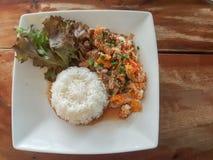 Nahaufnahme, thailändische Lebensmittelart: u. x22; Kaow Moo Tun Pad Thai u. x22; fied Schweinefleisch Lizenzfreie Stockfotos