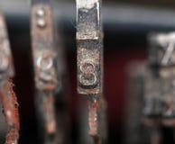 Nahaufnahme von alten Schreibmaschinenknöpfen Stockfotografie