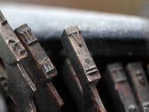 Nahaufnahme von alten Schreibmaschinenknöpfen Lizenzfreies Stockfoto