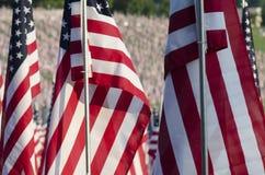 Nahaufnahme von amerikanischen Flaggen Stockbild
