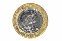 Nahaufnahme von Briten 2 Pfund Münze Lizenzfreies Stockbild