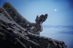 Nahaufnahme von Carvings auf dem Dach der Pagode, Dämmerung, Shanxi-Provinz, China Lizenzfreies Stockbild
