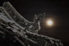 Nahaufnahme von Carvings auf dem Dach der Pagode, Nacht, Shanxi-Provinz, China Stockfotos