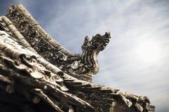 Nahaufnahme von Carvings auf dem Dach der Pagode, Tag, Shanxi-Provinz, China Lizenzfreie Stockfotos