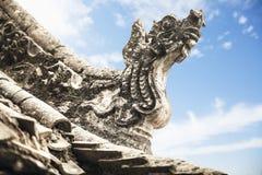 Nahaufnahme von Carvings auf dem Dach der Pagode, Tag, Shanxi-Provinz, China Stockfotos