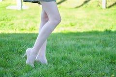Nahaufnahme von dünnen weiblichen Beinen auf weichem grünem Gras Stockfoto