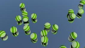 Nahaufnahme von den Metallglänzenden bunten Bällen, die über Spiegelglas nachdenken stock abbildung