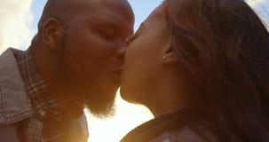 Nahaufnahme von den Paaren, die an einem sonnigen Tag 4k sich küssen stock video footage