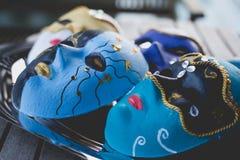 Nahaufnahme von den schönen Masken gemacht in der venetianischen Art Lizenzfreie Stockfotografie