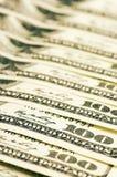 Nahaufnahme von Dollarscheinen Stockbilder