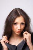 Nahaufnahme von einem vorbildlichen Hlding ihr Kragen. Lizenzfreies Stockfoto