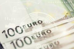 Nahaufnahme von 100 Eurobanknoten Stockfoto