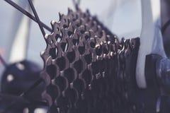 Nahaufnahme von Fahrradg?ngen Hinteres Gebirgsfahrrad-Raddetail stockfotografie