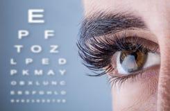 Nahaufnahme von Frau ` s Auge Makro schönes weibliches Auge Alphabetischer Sehtest Lizenzfreie Stockfotos