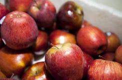 Nahaufnahme von frischen roten Äpfeln im Supermarkt Lizenzfreie Stockbilder