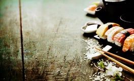 Nahaufnahme von frischen Sushi Lizenzfreies Stockfoto