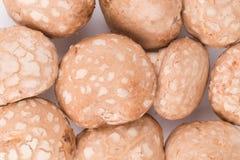 Nahaufnahme von geschmackvollen braunen Champignonpilzen Stockbilder