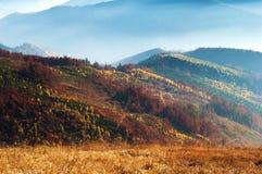 Nahaufnahme von Hügeln eines rauchigen Gebirgszugs umfasst im weißen Nebel Lizenzfreie Stockfotografie