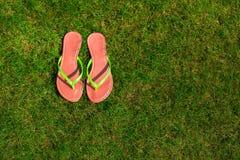 Nahaufnahme von hellen Flipflops auf grünem Gras Lizenzfreie Stockfotografie