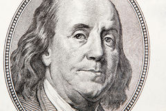 Nahaufnahme von hundert Rechnung Franklin Stockbilder