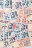 Nahaufnahme von indischen Banknoten Stockfotos