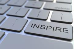Nahaufnahme von INSPIRE Schlüssel auf der Tastatur Wiedergabe 3d stockfoto