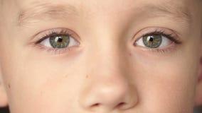 Nahaufnahme von Junge ` s mustert, die Kamera betrachtend stock video footage