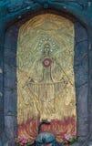 Nahaufnahme von Jungfrau- Mariafresko bei Vadipatti Arockia Annai Shrine Stockfoto