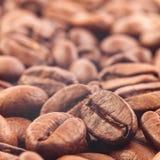 Nahaufnahme von Kaffeebohnen mit Fokus auf einem Stockfotografie