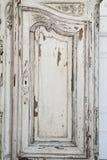 Nahaufnahme von Kommode-Büromöbeln des Schlüssellochs alten weißen mit Farbe zog weg ab Lizenzfreie Stockbilder