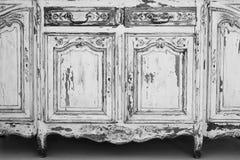 Nahaufnahme von Kommode-Büromöbeln des Schlüssellochs alten weißen mit Farbe zog weg ab Stockfotos